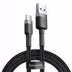 Usb C Cable, Baseus Type C Fast Charger ( 2 Pack 2M + 1M ), Nylon Braided Compatible for Samsung Galaxy S10 S9 S8 A3 A5 2017 Note 10 9 8, Huawei P10 P9, Google Pixel, Sony Xperia XZ, LG - Black Grey