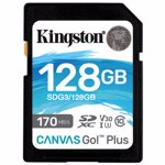 Card Kingston Canvas Go Plus SDXC 128GB Clasa 10 UHS-I U3 V30 170Mbs