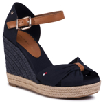 Espadrile TOMMY HILFIGER - Basic Opened Toe High Wedge FW0FW04784 Desert Sky DW5