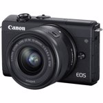 Aparat foto Mirrorless Canon EOS M200, 24.1 MP, 4K, Bluetooth, Wi-FI + Obiectiv 15-45mm F3.5-6.3 IS (Negru)