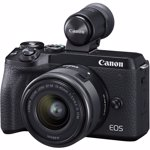 Aparat foto Mirrorless Canon EOS M6 Mark II 32.5 Mpx Kit EF-M 15-45mm f/3.5-6.3 IS si EVF-DC2 Black