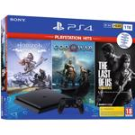 Consola SONY PlayStation 4 Slim (PS4 Slim) 1TB, Jet Black + 3 jocuri God of War, Horizon Zero Dawn Complete Edition, The Last of Us Remastered