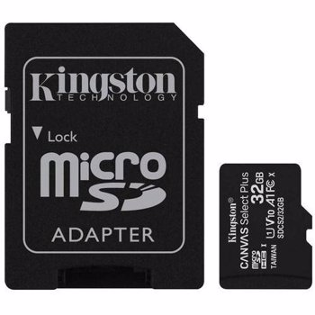 Card memorie cu adaptor Kingston Canvas Select Plus SDCS2/32GB (32GB; Class 10, Class U1, V10; + adapter)