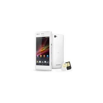"Telefon Mobil Sony Xperia M C2005, Procesor Dual-core 1 GHz Krait, TFT capacitive touchscreen 4"", 1GB RAM, 4GB Flash, Wi-Fi, 3G, Android 4.1, Dual Sim (Alb)"