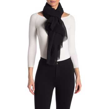 Accesorii Femei David Young Solid Pleated Scarf BLACK