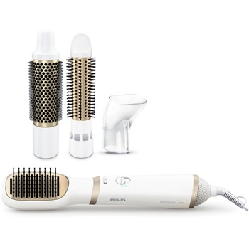 Perie cu aer cald Philips Essential Care Airstyler HP8663/00, 800 W, Ionizare, ThermoProtect, 4 accesorii, Alb