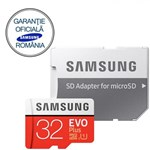 Card de memorie Samsung EVO Plus MB-MC32GA/EU, micro SDHC UHS-I 32GB (Clasa 10), 95MB/s, Waterproof + Adaptor SD