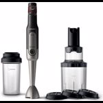 Mixer vertical Philips Viva Colelction HR2656/90, 800 W, viteza variabila, ProMix, spiralizator, recipient on-the-go, Negru/Inox