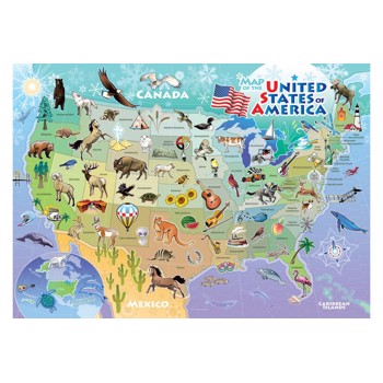 Puzzle Cobble Hill - USA Map, 35 piese (Cobble-Hill-58895)