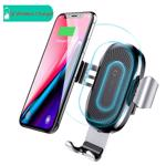 Suport Baseus Auto Gravity cu Wireless Charger Silver