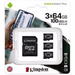 Set 3 Carduri de memorie KINGSTON Canvas Select Plus microSDXC 64GB, Clasa 10 UHS-I, U1, V10, 100MBs, adaptor