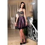 Baby doll dress with golden lace and tulle black