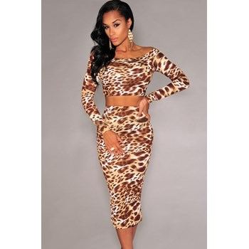 K340-99 Compleu sexy top si fusta cu model animal print