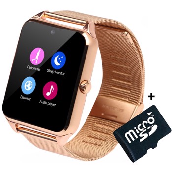 Ceas Smartwatch cu Telefon iUni Z60, Curea Metalica, Touchscreen, Camera, Gold + Card MicroSD 4GB