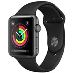 Apple Watch 3 42mm Space Grey Case, Black Sport Band