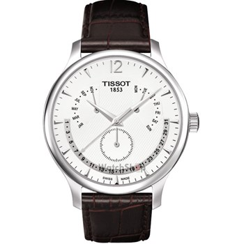 Tissot Men's Tradition 42mm Brown Leather Band Steel Case Quartz Silver-Tone Dial Watch T063.637.16.037.00