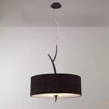 Lustra Mantra M1153/BS Eve Pendant 3 Light Anthracite Black Shade