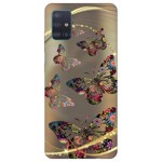Husa Silicon Soft Upzz Print Samsung Galaxy A51 Model Golden Butterfly
