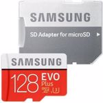 Card de memorie Samsung MB-MC128HA/EU EVO Plus, MicroSDXC, 128GB, Clasa 10, UHS-1 + Adaptor SD