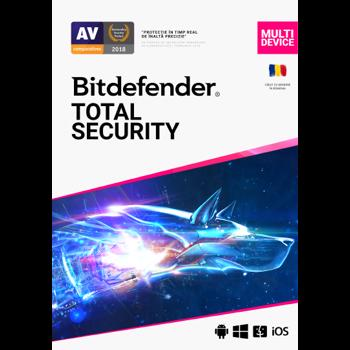 Antivirus Bitdefender Total Security Multi-Device 2020, 3 Dispozitive, 2 Ani, Licenta noua, Electronic