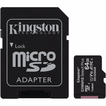 Card de memorie Kingston 64GB micSDXC Canvas Select Plus 100R A1 C10