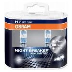 Set 2 Becuri auto cu halogen pentru far Osram H7 Night Breaker Unlimited, up to 110%, 12V, 55W