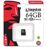 MicroSDXC Kingston, 64GB, Canvas Select 80R, Clasa 10 UHS-I, fara adaptor SD