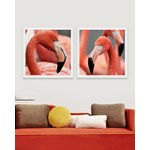 Tablou 2 piese Framed Art Flamingo Heads