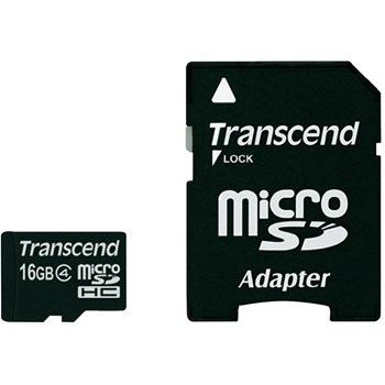 Card Transcend microSDHC 16GB Class 4 cu adaptor SD