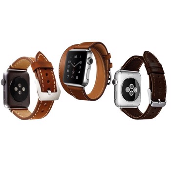 Set 2+1 Gratis, Curele Apple Watch iUni 38 mm Piele Double Tour Maro, Single Tour, Vintage Dark Coffee