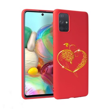 Husa Silicon Soft Upzz Print Candy Samsung Galaxy A51 Gold Heart Rosu