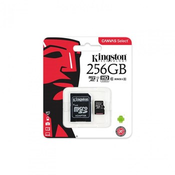 Card de Memorie Kingston Canvas Select 80R microSDXC 256GB Clasa 10 UHS-I 80MBs + Adaptor SD sdcs/256gb