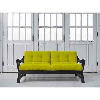 Canapea Extensibila 2 locuri, stofa si cadru lemn de pin, Step Black, l178xA75xH57 cm