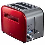 Prajitor de paine Heinner HTP-850RDIX, 850 W, 7 nivele de rumenire, 3 functii (Rosu/Inox)