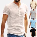 Tricou casual pentru barbati, cu maneca scurta pentru vara, tricou din amestec de bumbac ?i in