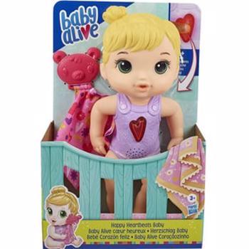 Papusa bebelus BABY ALIVE Fericita cu batai colorate ale inimii E6946, 3 ani+, roz-mov