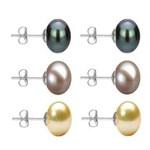 Set Cercei Aur Alb cu Perle Naturale Negre, Lavanda si Crem de 10 mm - Cadouri si Perle