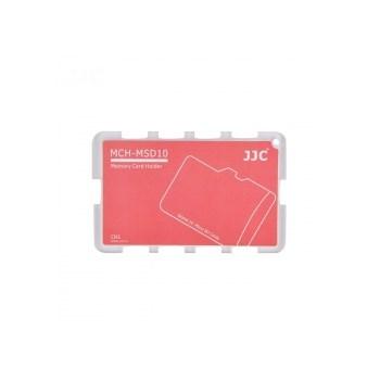 JJC - Cutie pentru carduri de memorie Micro SD, 10 compartimente, rosu