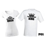 Set de tricouri pentru cupluri de indragostiti I'm his Queen/I'm her King, la 99 RON in loc de 200 RON
