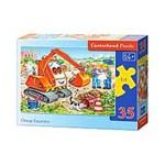 Puzzle Escavator portocaliu, 35 piese