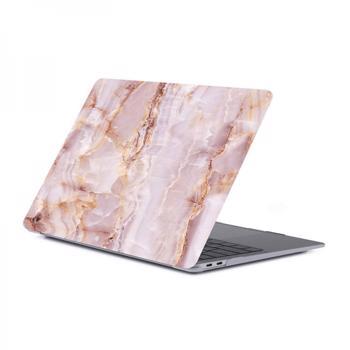 Set protectie 2 in 1 pentru Macbook Air 13.3 inch A1932 cu husa din plastic si folie ecran TPU model marmura rose gold