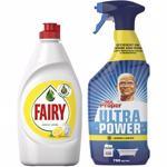 Pachet detergent de vase FAIRY Lemon, 450ml + Detergent universal MR. PROPER Ultra Power Spray Lemon, 750ml