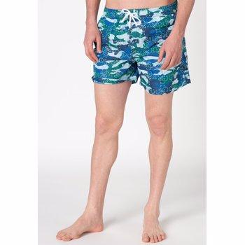 Pantaloni scurti de baie cu imprimeu si buzunare oblice
