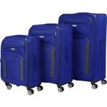 Set trolere textil Valencia, 55 cm+65 cm+75 cm, albastru navy + gri