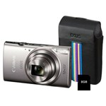 Aparat Foto Digital Canon IXUS 285HS, 20.2 MP, Filmare Full HD, Zoom optic 12x (Argintiu) + Card 8GB + Husa