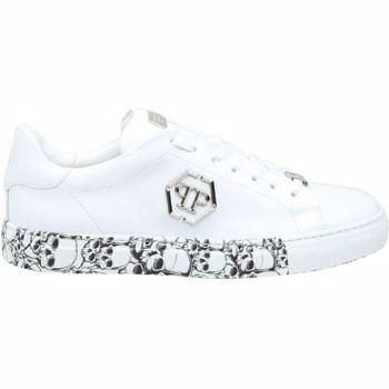 Philipp Plein Hexagon Skull Sneakers In White Culoarea White
