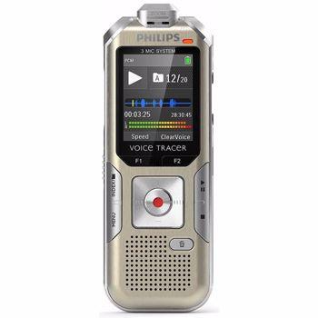 Reportofon digital Philips DVT6510, 8 GB, FM, sensor miscare, slot MicroSD, LCD, 3 microfoane, telecomanda wireless, plug & play, carcasa din metal, adaptor XLR (Auriu/Gri)