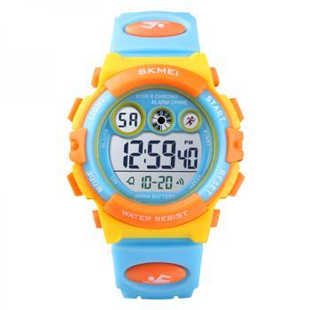 Ceas de copii sport SKMEI 1451 waterproof 5ATM cu cronometrualarma data si iluminare ecran galben