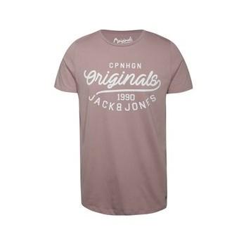 Tricou roz prafuit din bumbac Jack & Jones Finish cu logo print