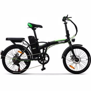 Bicicleta asistata electric pliabila RKS MX35, 20 inch, negru-verde